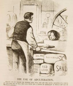 """Девочка: """"Сэр, матушка послала меня за четвертью фунта вашего лучшего чая, чтобы избавиться от летучих мышей, и унцией шоколада, который потравит черных жуков""""."""