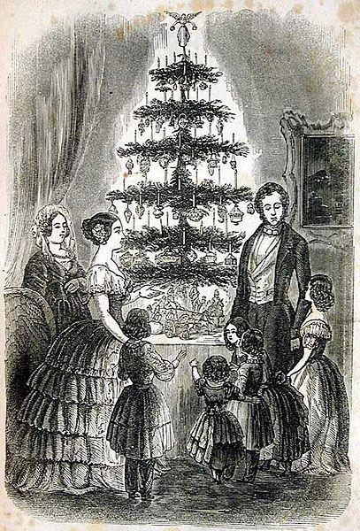 Королева Виктория и принц Альберт с семьей на Рождество