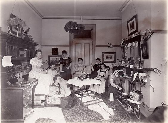 Какао-вечеринка в Королевском колледже Холлоуэй, Лондон, ок. 1890